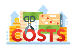 Reduce Costs - flat design website banner Royalty Free Stock Photography
