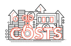 Reduce Costs - flat line design website banner. Reduce Costs - vector modern line flat design illustration with coin stacks, dollar bills, scissors cutting the Royalty Free Stock Image