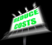 Reduce Costs Sign Displays Lessen Prices and Charges Stock Photos
