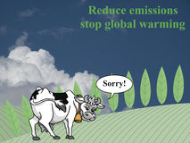 Reduce emissions. Farmland landscape with apologetic cow for contributing towards emissions and global warming set against a cloudy sky backdrop Stock Images