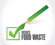 Reduce food waste check mark sign concept Stock Image