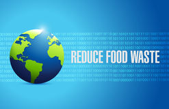 Reduce food waste international globe sign concept. Illustration design over blue background Royalty Free Stock Image