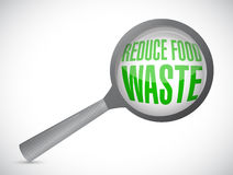 Reduce food waste magnify glass sign concept Royalty Free Stock Photos