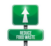 Reduce food waste road sign concept Stock Photos