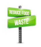 Reduce food waste street sign concept Stock Images