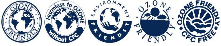 Reduce Ozone. Icons marking Ozone Friendly products stock illustration