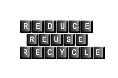 Reduce reuse recycle. Reduce, reuse, recycle written with computer keyboard letters Royalty Free Stock Images
