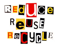 Reduce reuse recycle. Ransom note style Stock Images
