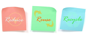 Reduce Reuse Recycle. Word of reduce reuse recycle on post it note isolate on white Royalty Free Stock Images