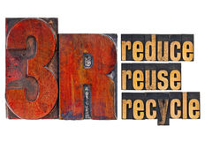 Reduce, reuse, recycle - 3R concept. A collage of isolated words in  vintage letterpress wood type Stock Photography