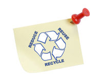 Reduce reuse recycle. Thumb tacked note with reduce reuse recycle Stock Photos