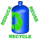 Reduce reuse recycle. Recycleable container with reduce reuse recycle - vector Royalty Free Stock Images