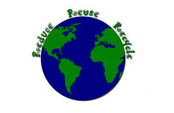 Reduce Reuse Recycle. Around Earth Stock Photography