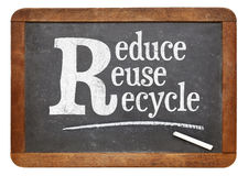 Reduce, reuse, recycle blackboard sign Stock Images