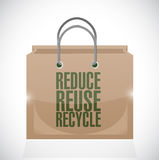Reduce reuse recycle brown paper bag illustration Stock Photo