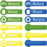 Reduce reuse and recycle buttons. Green, blue and yellow reduce reuse and recycle buttons on a white background Vector Illustration