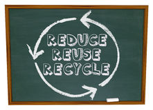 Reduce Reuse Recycle - Chalkboard. The words Reduce, Reuse and Recycle surrounded by a recycling circle on a chalkboard Royalty Free Stock Images