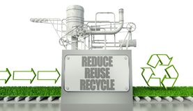 Reduce reuse recycle concept with eco symbol. And arrow signs Royalty Free Stock Photos