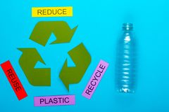 Reduce, Reuse & Recycle. Recycle concept showing the green recycle logo with reduce, reuse, recycle & plastic on a blue background stock images