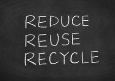 Reduce reuse recycle. Concept text on a blackboard background Royalty Free Stock Photography