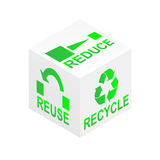 Reduce Reuse Recycle Cube. Reduce, reuse and recycle on white cube illustration Royalty Free Stock Images