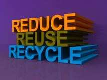 Reduce reuse recycle. Reduce, reuse and recycle in 3D block letters against purple background Stock Photos
