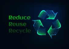 Reduce reuse recycle ecology banner with green glow low poly recycle symbol and text on dark blue. Reduce reuse recycle ecological banner template with green royalty free illustration