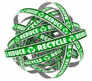 Reduce Reuse Recycle Endless Loop Dispose Trash Materials 3d Ill. Ustration Stock Photo