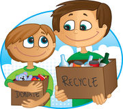 Reduce, reuse, recycle. Father and son having fun recycling and donating old toys and clothes Stock Photography