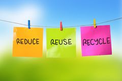Reduce, Reuse, Recycle. Green earth inspirational text concept Stock Image