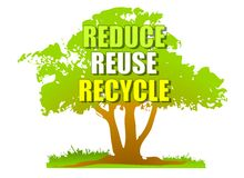 Reduce Reuse Recycle Green Tree royalty free illustration