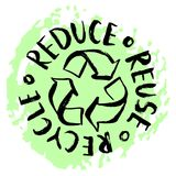 Reduce, reuse, recycle. Hand drawn recycling sign. Reduce, reuse, recycle lettering. Vector hand drawn recycling sign. Earth Day eco design Stock Photo