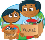 Reduce, reuse, recycle. Indian father and son having fun recycling and donating old toys and clothes Stock Images