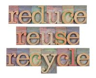 Reduce, reuse and recycle - resource conservation. Reduce, reuse and recycle - isolated word abstract  in vintage wooden letterpress type blocks, resource Stock Photography