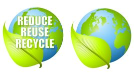 Reduce Reuse Recycle Leaf Earth. An illustration featuring the Earth with a green leaf and the words 'Reduce, reuse, recycle' with alternative version minus the Royalty Free Stock Photography