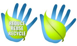 Reduce Reuse Recycle Leaf Hand. An illustration featuring a blue hand with a green leaf and the words 'Reduce, reuse, recycle' with alternative version minus the Stock Images