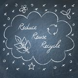 Reduce Reuse Recycle lettering on chalkboard. Hand drawn ecology banner on chalkboard - Reduce Reuse Recycle lettering Royalty Free Stock Photography