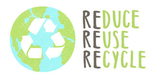 Reduce reuse recycle lettering and Earth sign Royalty Free Stock Images