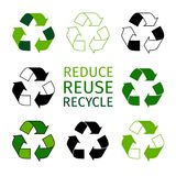 Reduce reuse recycle logotype set. Green arrows recycle eco symbols Stock Photo