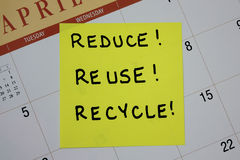 Reduce, Reuse, Recycle Note Royalty Free Stock Photo