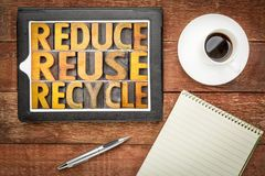 Reduce, reuse and recycle - resource conservation Stock Images