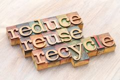 Reduce, reuse and recycle - resource conservation. Reduce, reuse and recycle 3R concept - word abstract in wooden letterpress type blocks, resource conservation Royalty Free Stock Photography