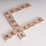 Reduce, Reuse Recycle Scrablle Concept Stock Photos
