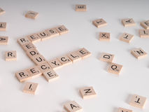 Reduce, Reuse Recycle Scrablle Concept Stock Photography
