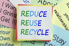 Reduce Reuse Recycle Concept. Reduce, Reuse and Recycle written on a note paper. Business Concept. Top view Royalty Free Stock Photo