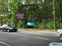 Reduce speed more! Funny road traffic accident Royalty Free Stock Photo