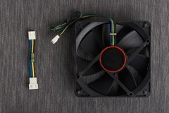 Reduce speed noise resistor cable. Computer fan and noise resistor cable to reduce computer fan speed stock images