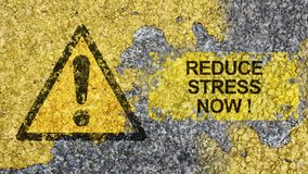 Reduce Stress Now concept. Depress, depression, mindfulness, relax, health, healthy, trauma, overloaded, mental, breakdown, road, sign stock photos