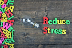 Reduce stress on wooden table Royalty Free Stock Photos