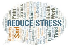 Reduce Stress word cloud. Wordcloud made with text only vector illustration